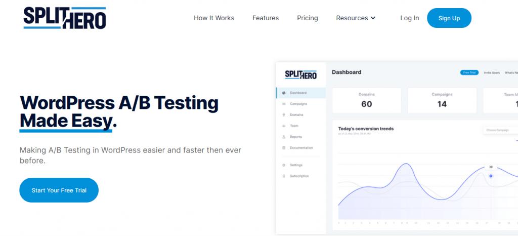 plugin a/b testing wordpress Split Hero