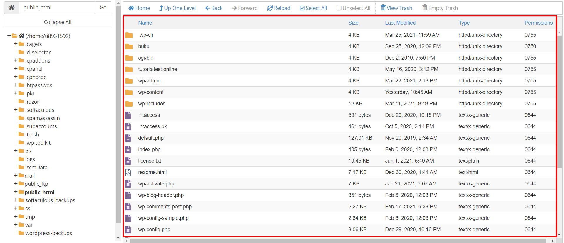Daftar isi folder di file manager cPanel
