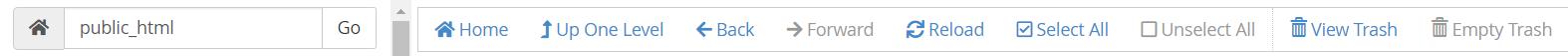 Menu navigasi file manager cPanel