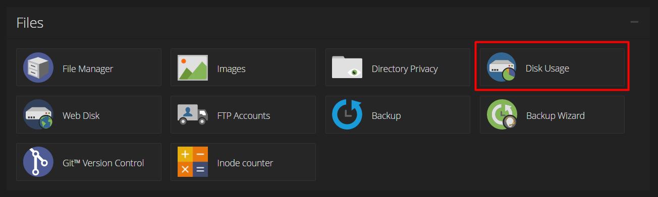 Menu disk usage cPanel