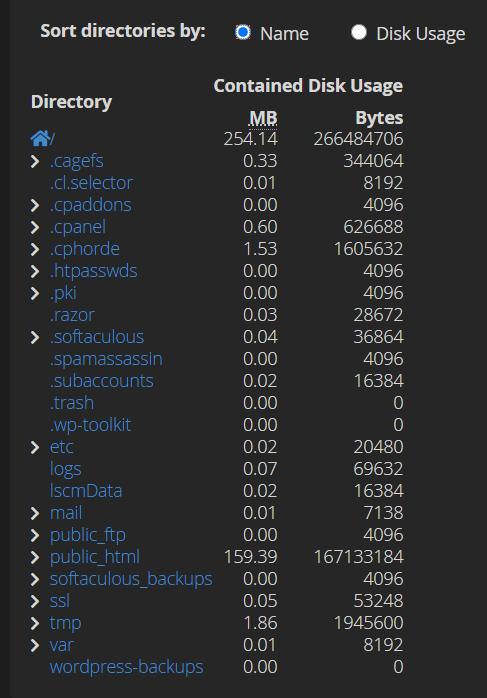 Detail disk usage di cPanel