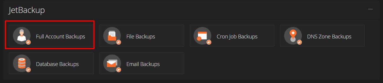 Menu full account backups cPanel