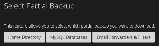 Pilihan partial backup di backup wizard cPanel