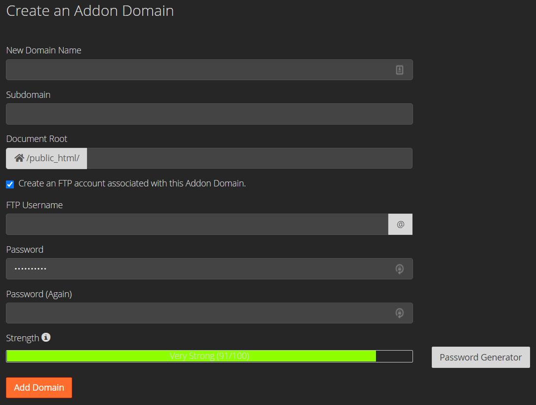 Formulir pembuatan addon domain di cPanel