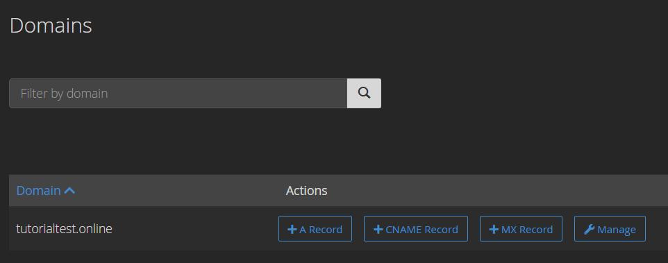 Tombol-tombol untuk menambahkan DNS record di cPanel