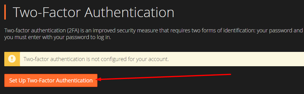 Tombol setup two factor authentication