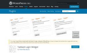 tabbed login widgets