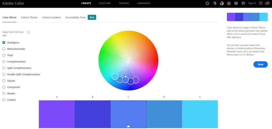 contoh website untuk inspirasi kombinasi warna adalah Adobe Color