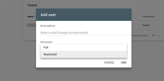 Menambah User - Google Search Console