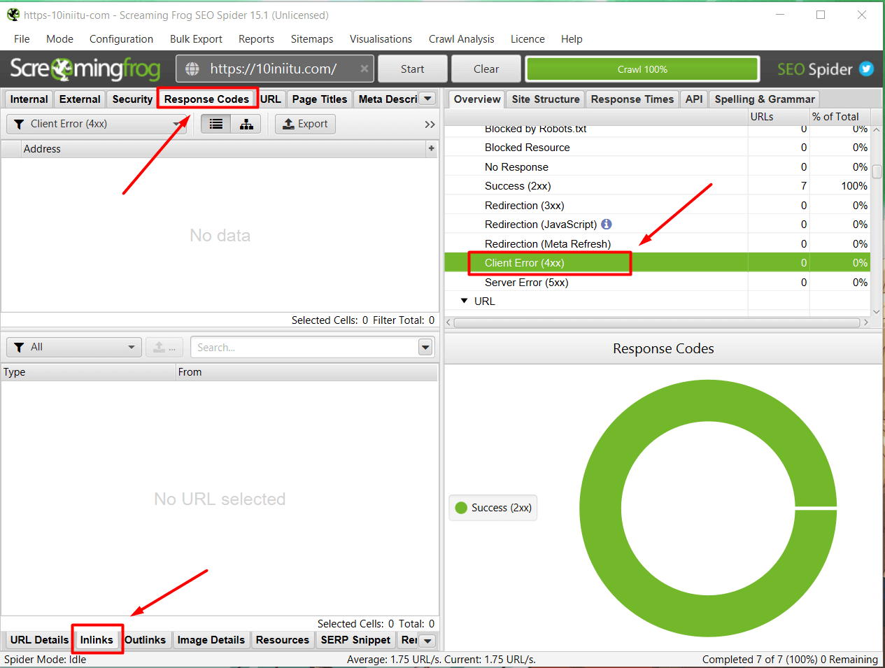 the second step is to check for broken links via Screaming Frog