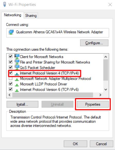 Menu porperties untuk IPv4