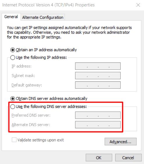 Kolom DNS address