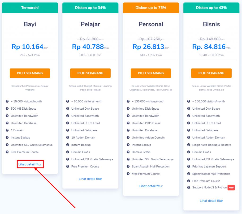 Tombol untuk melihat detail fitur Unlimited hosting