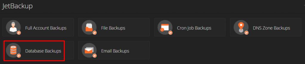 Menu database backups cPanel