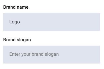 Kolom nama dan slogan logo di Zyro