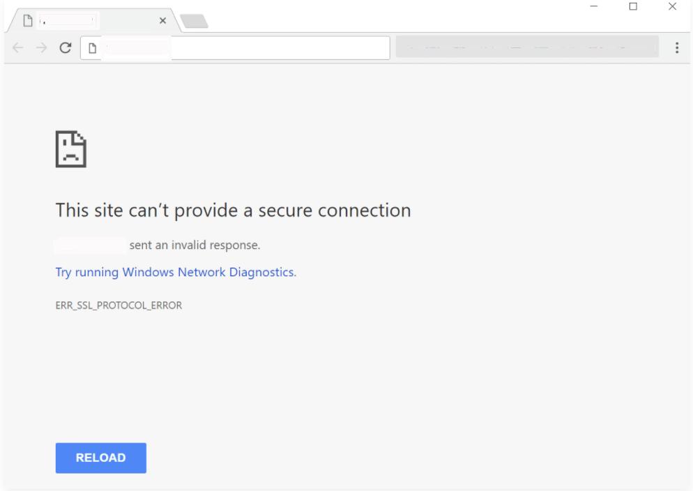 error err_ssl_protocol_error yang terjadi di Chrome