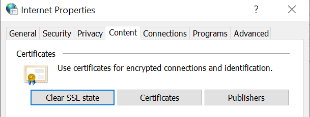 Clear SSL state pada menu content
