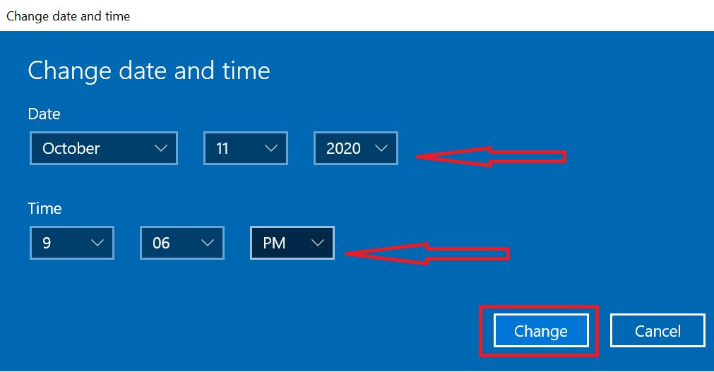 Ubah waktu dan tanggal yang sesuai