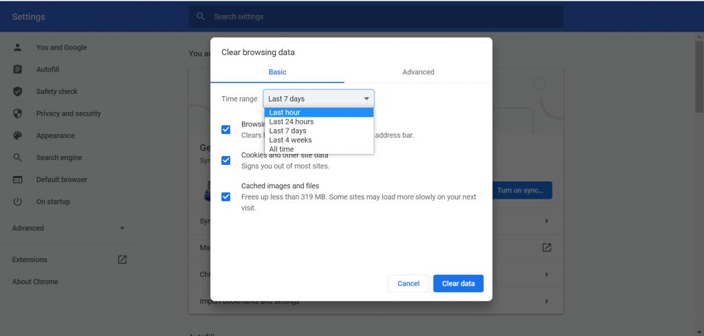 Clear browser data sesuai dengan rentang waktu yang diinginkan