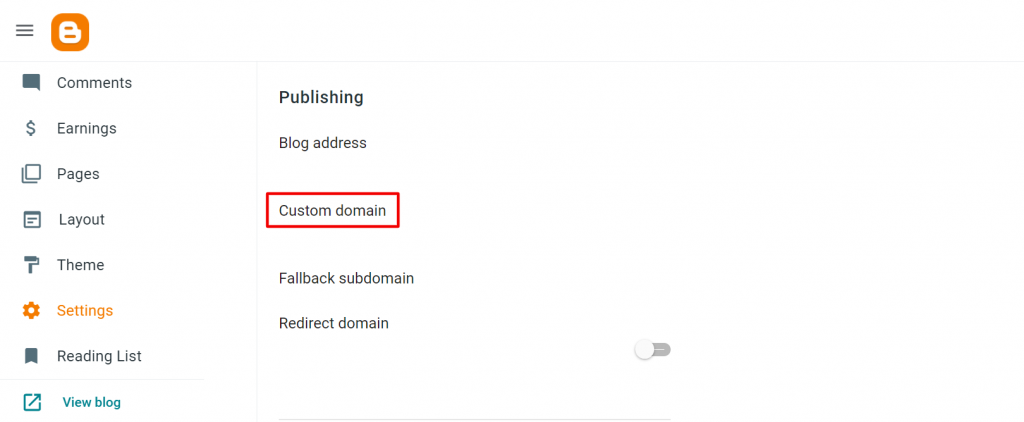 memilih custom domain pada menu settings