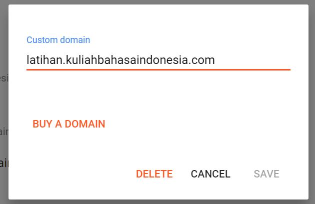 menulis nama subdomain lalu klik save