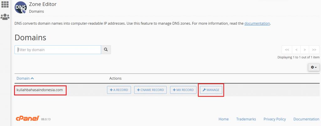 klik manage pada domain yang dipilih