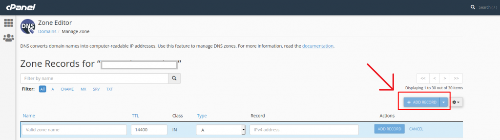 klik add record pada bagian manage zone