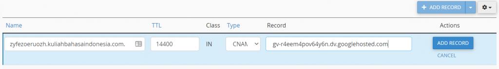 isi name dan record sesuai kode yang telah diberikan sebelumnya