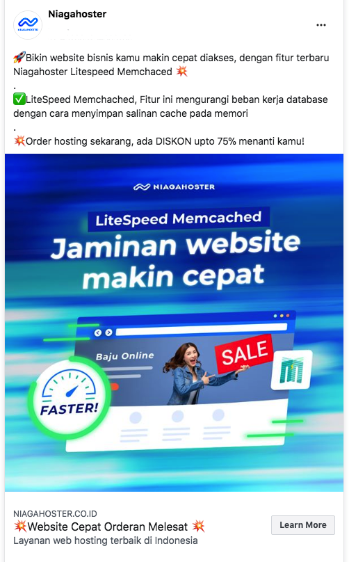 Contoh Facebook Feed Ads Niagahoster