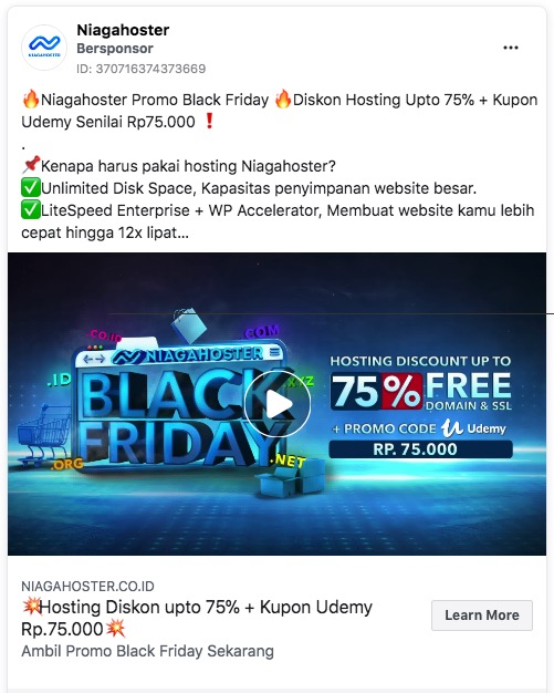 Contoh Facebook Video Ads Niagahoster