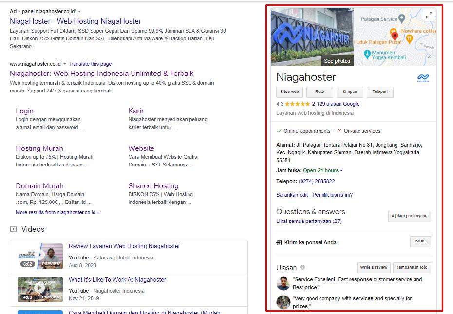 Google Bisnisku Niagahoster