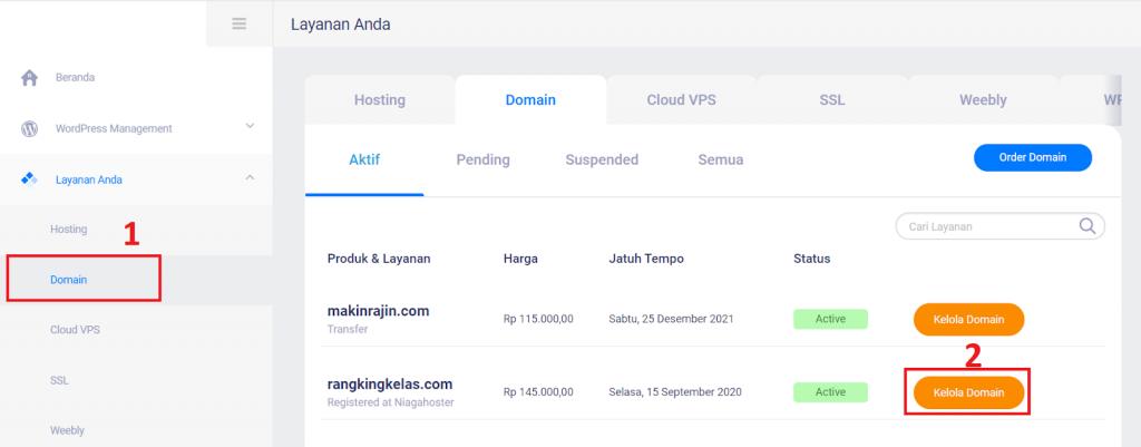 halaman kelola domain