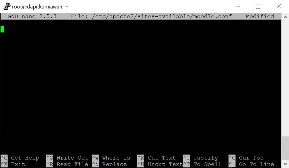 nano editor yang digunakan dalam tahapan install moodle di ubuntu