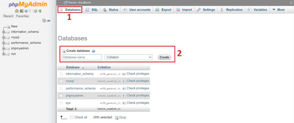 PHPMyAdmin dashboard yang digunakan dalam tahapan instalasi moodle di ubuntu