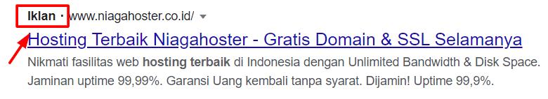 Tampilan iklan di SERP Google