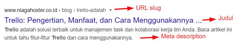 Meta Tag yang muncul pada SERP Google