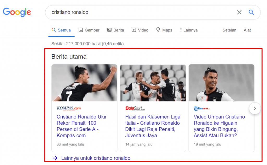 Contoh Berita Utama di hasil pencarian Google