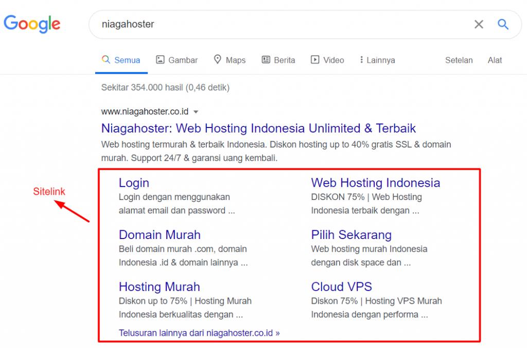 Contoh bagaimana sitelink website ditampilkan oleh Google