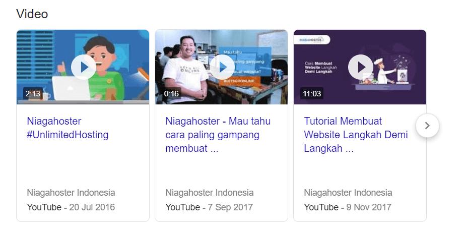 Contoh hasil pencarian video