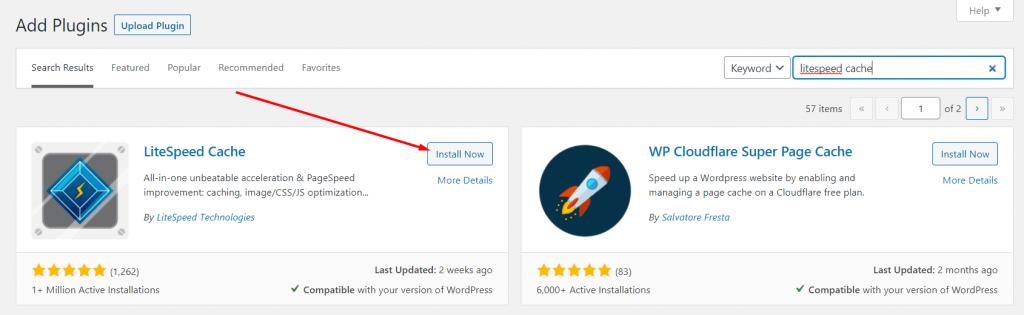 Mengaktifkan Plugin LiteSpeed Cache