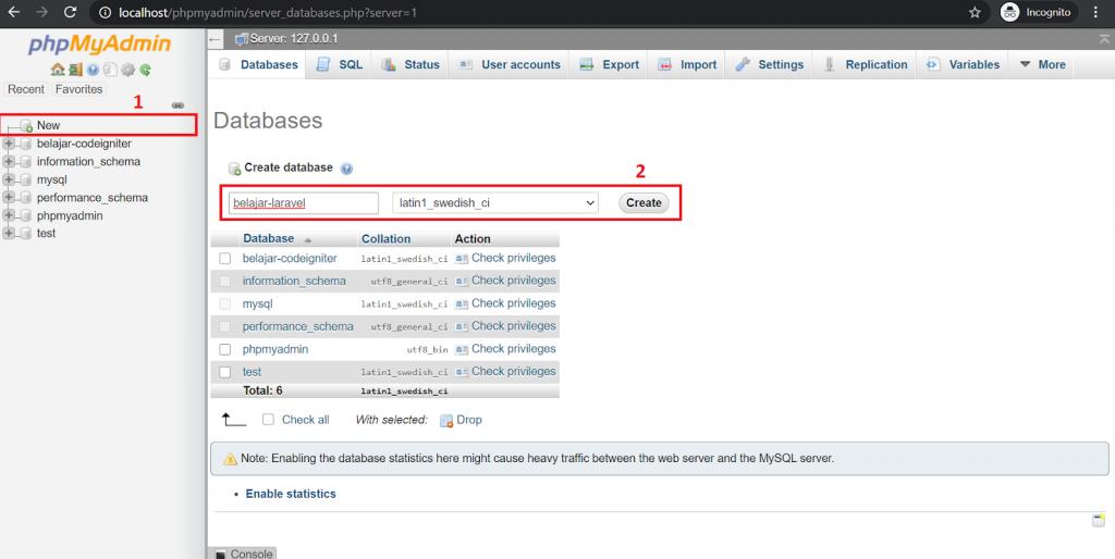 Membuat database di PHPMyAdmin untuk laravel blog