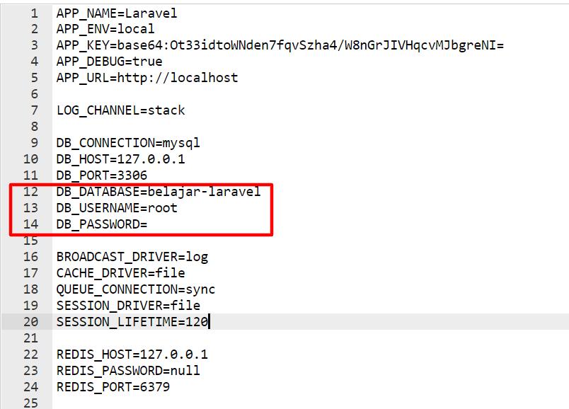mengatur konfigurasi database