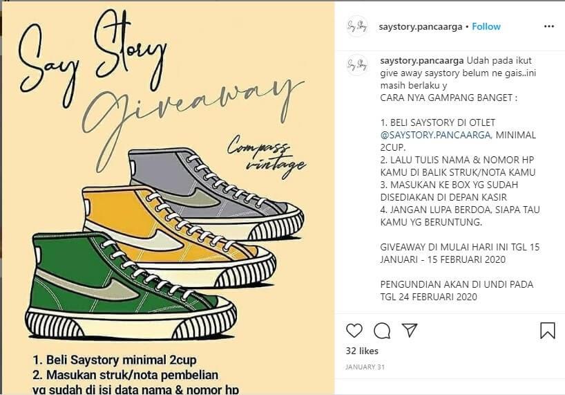 contoh undian giveaway instagram untuk bisnis