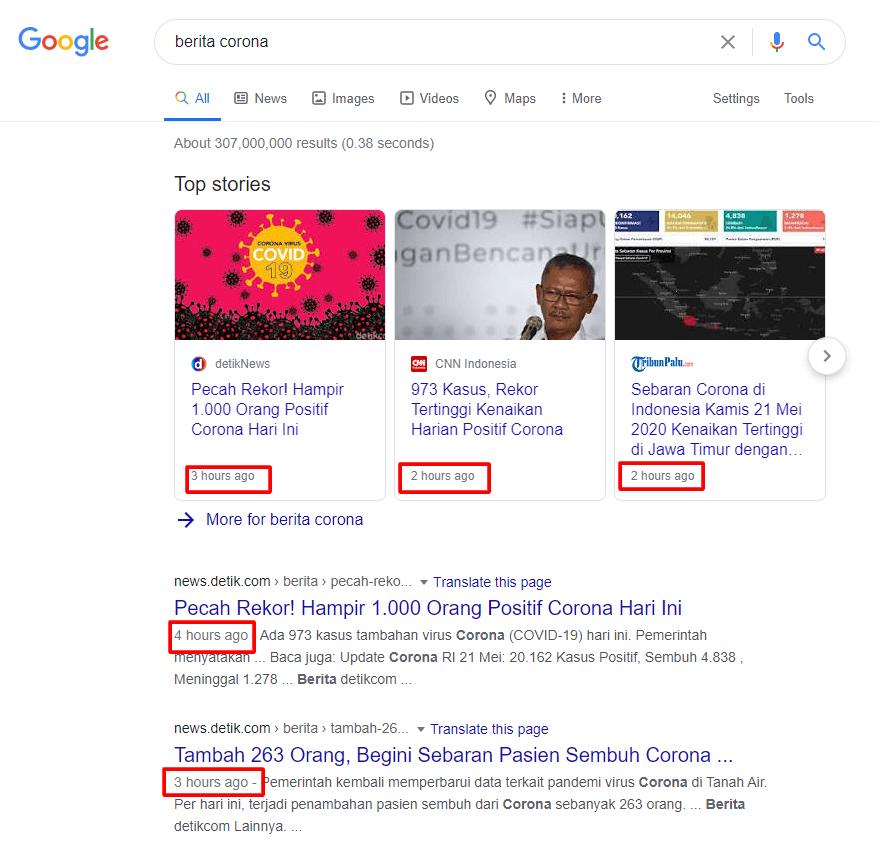 Salah satu Faktor yang Mempengaruhi Google Ranking adalah konten yang update