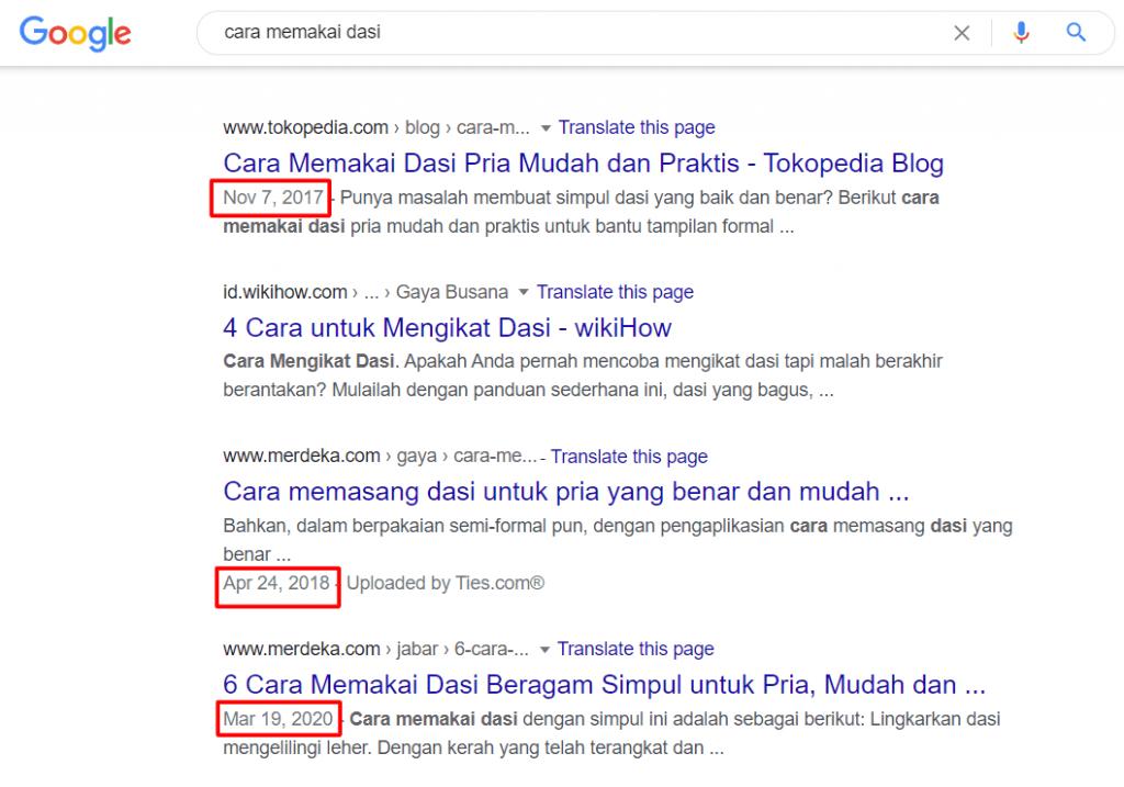 Salah satu Faktor yang Mempengaruhi Google Ranking adalah konten panduan yang update dan relevan