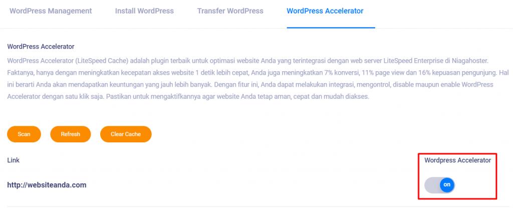 akses website tercepat dengan wordpress accelerator di member area niagahoster