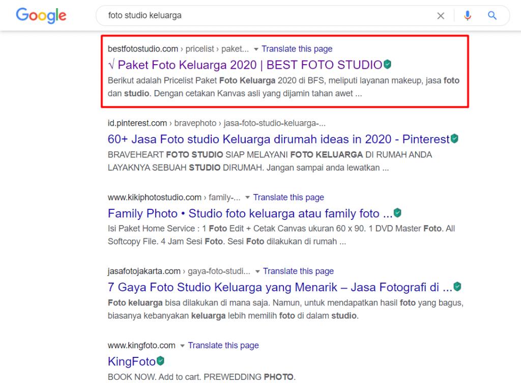 Best Foto Studio di hasil pencarian Google