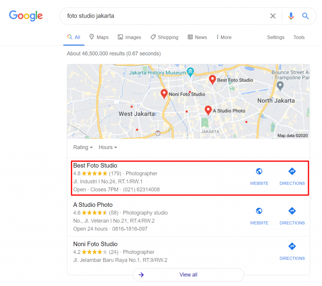 Pencarian Google Maps di hasil pencarian Google