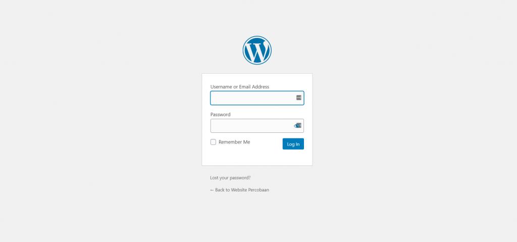 login ke akun wordpress