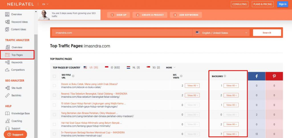 data top pages domain di UberSuggest